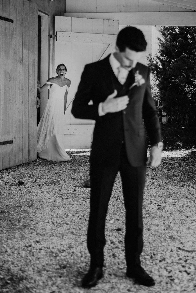 bride surprises groom at first look