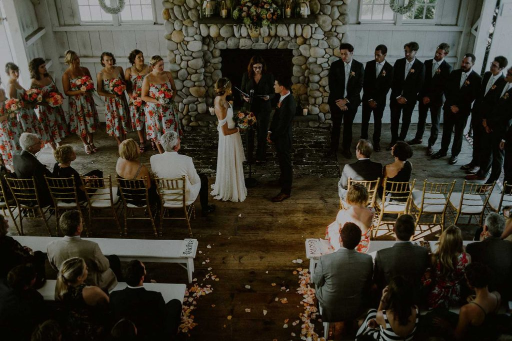 eagle eye view of bonnet island chapel during bonnet island wedding ceremony