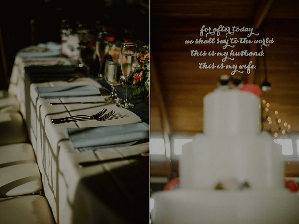 reception details enhanced by sunlight at bonnet island wedding reception