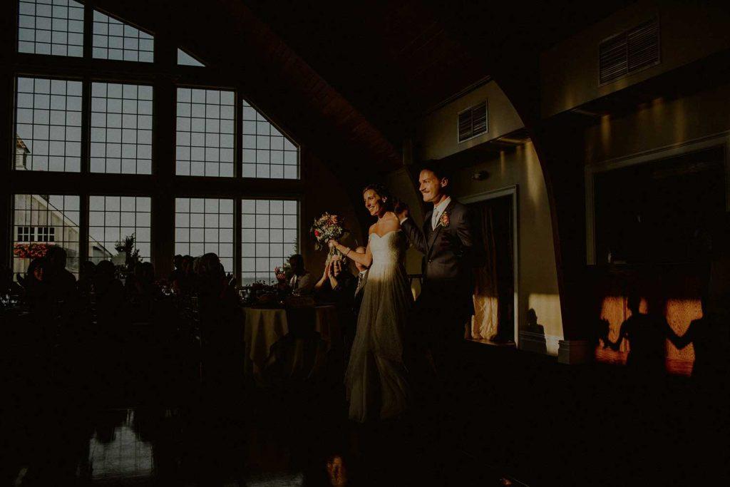 bride and groom grand entrance at bonnet island wedding reception