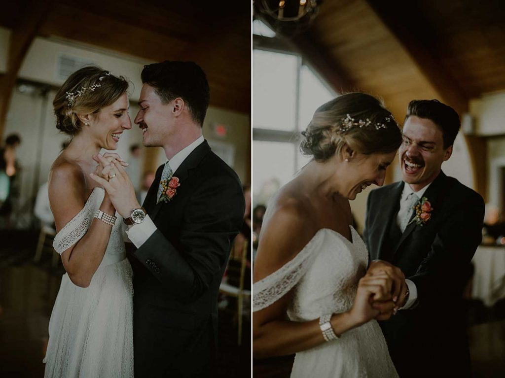 bride and groom happily dance their first dance