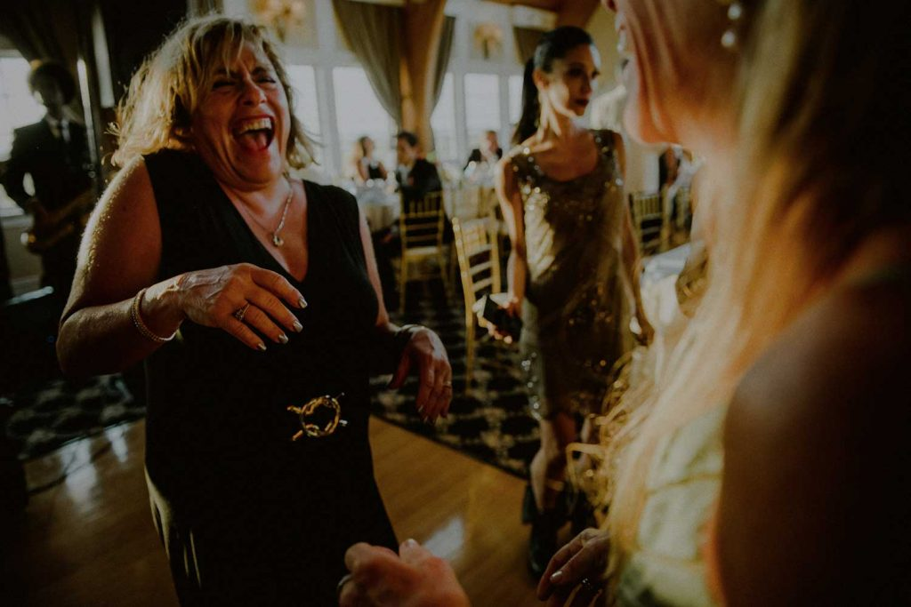 happy wedding reception moment