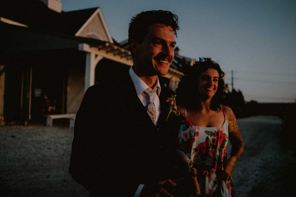 sunset moment with groom at lbi wedding