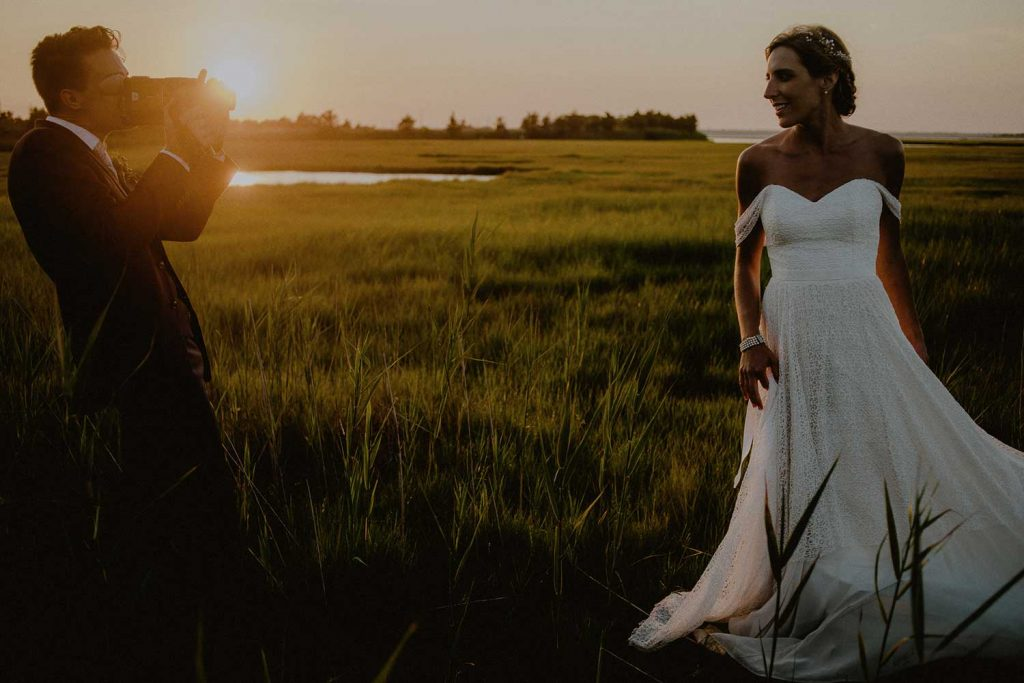 bride and groom casual sunset portraits at lbi wedding