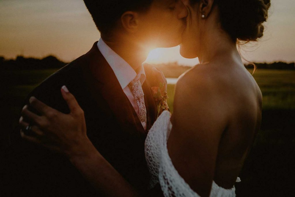 intimate bridal portrait during sunset wedding photo shoot