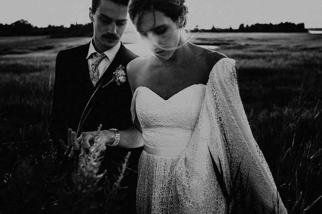 intimate wedding portrait of bride and groom at bonnet island wedding