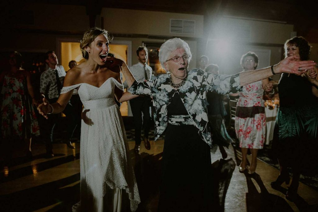 hilarious moment of grandmother dancing at wedding reception