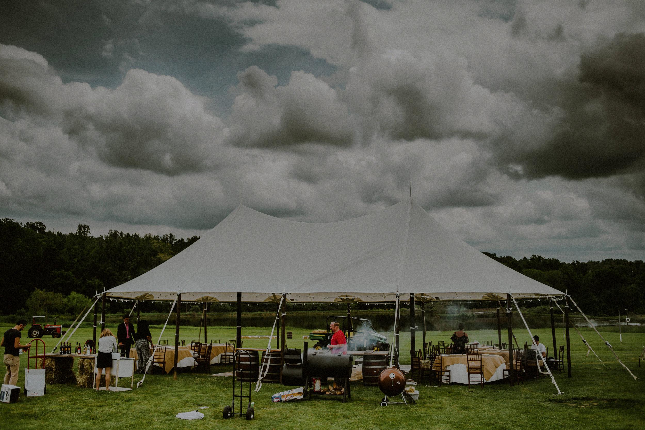 tented outdoor reception set up at born to run farm in glen gardner