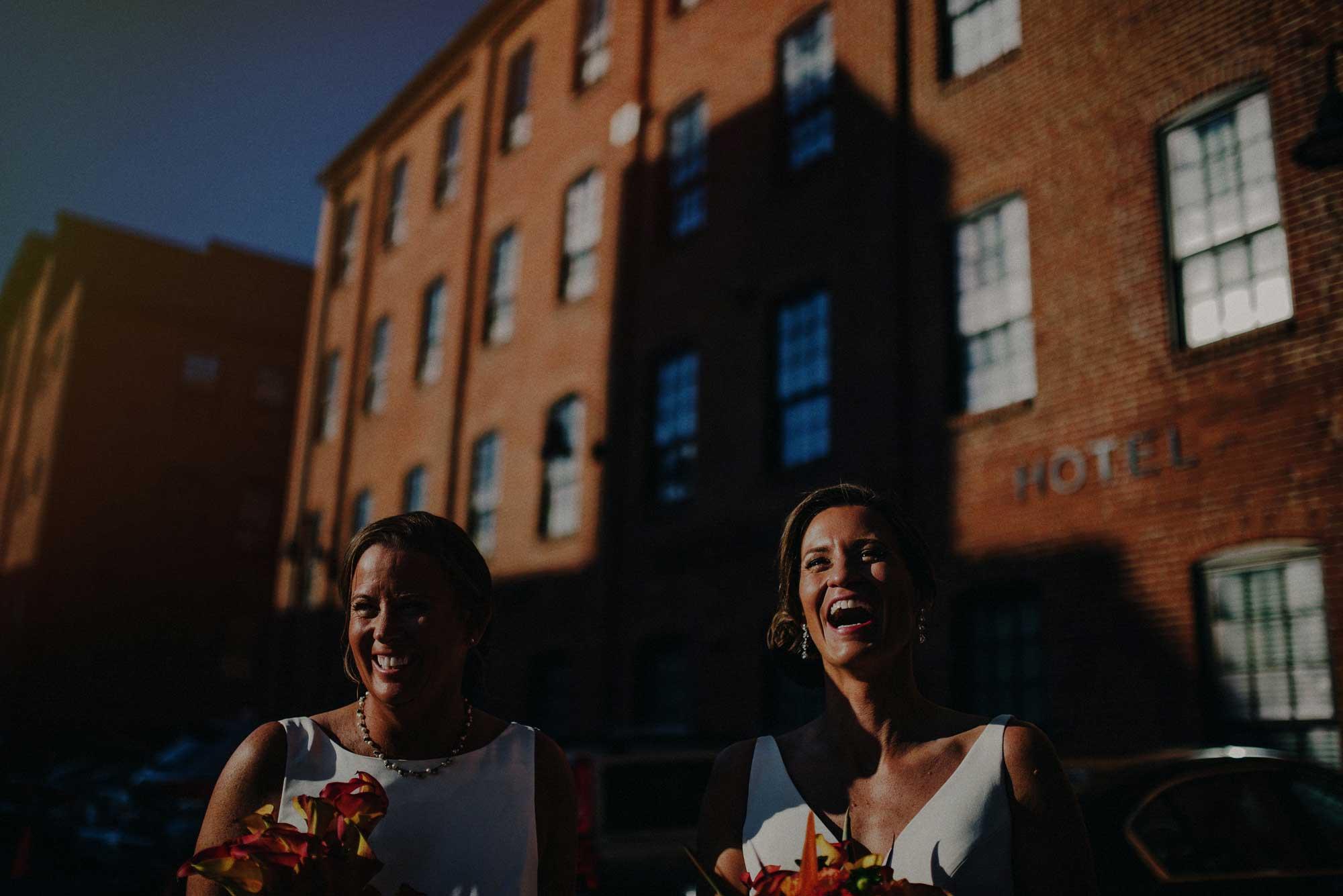 lesbian wedding happy couple smiling